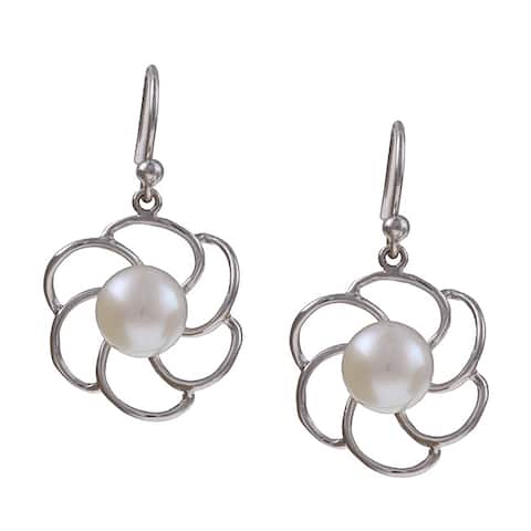 Kabella Sterling Silver Freshwater Pearl Flower Earrings (8-8.5 mm) - White
