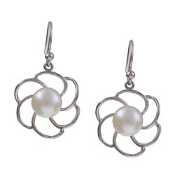 Kabella Sterling Silver Freshwater Pearl Flower Earrings (8-8.5 mm)