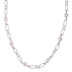 Kabella Sterling Silver and Freshwater Pearl Necklace (7.5-8 mm)