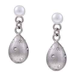 Kabella Sterling Silver Freshwater Pearl and Crystal Earrings (4.5-5 mm)