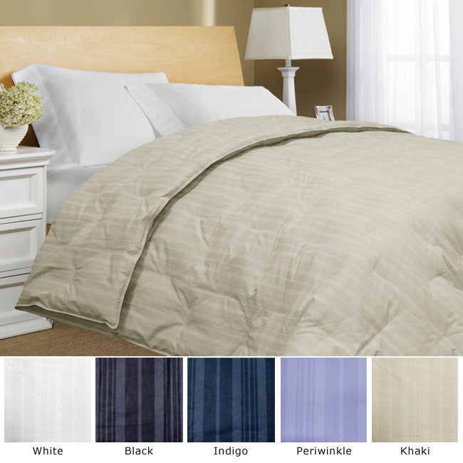 Cotton Damask Stripe All Season Down Fiber Blend Comforter