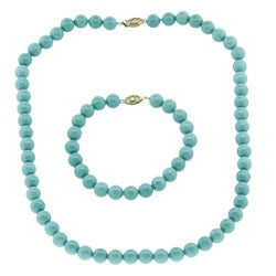 Magnesite and Turquoise Bracelet and Necklace Jewelry Set
