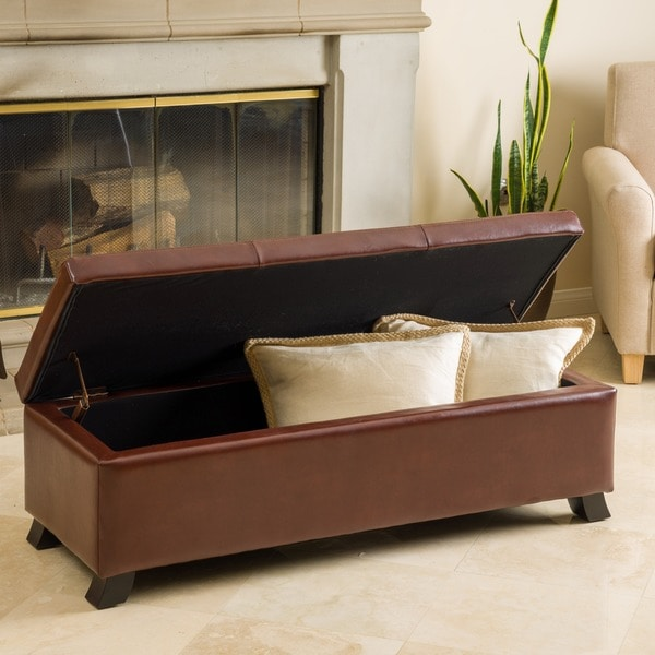 Cambridge Saddle Brown Bonded Leather Storage Ottoman by Christopher Knight Home