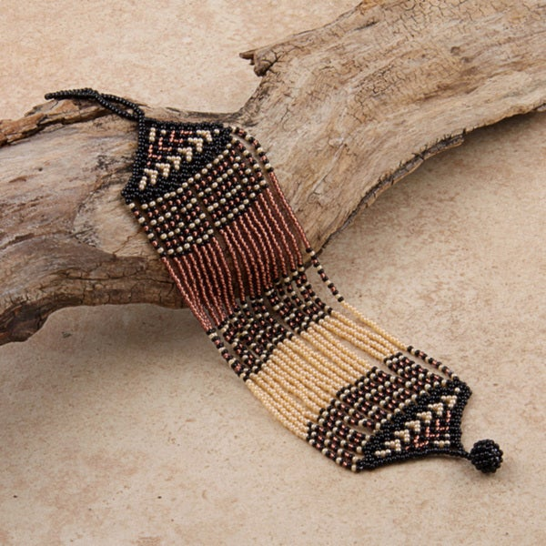 Glass Zulu String Brown/ Black/ Pink Bracelet (South Africa)