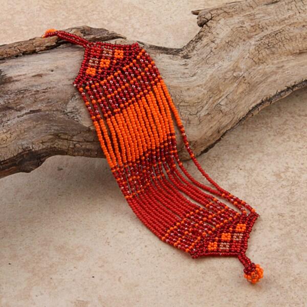 Glass Zulu Orange String Bracelet (South Africa)