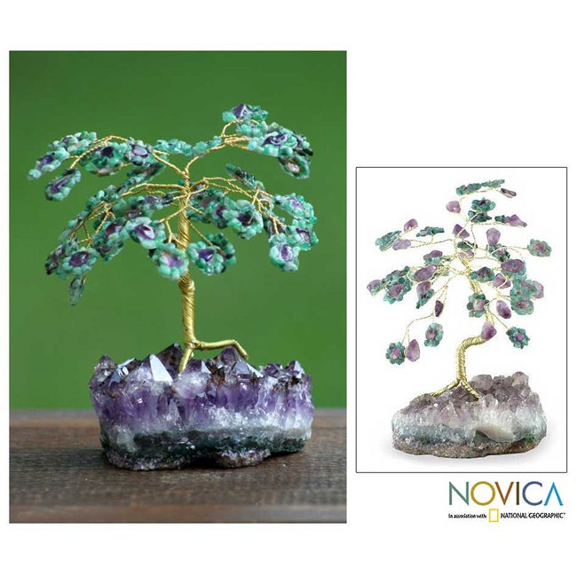 Brass 'Hope Everlasting' Gemstone Tree Sculpture (Brazil)