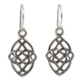 Handmade Sterling Silver 'Gordian Knot' Dangle Earrings (Thailand)