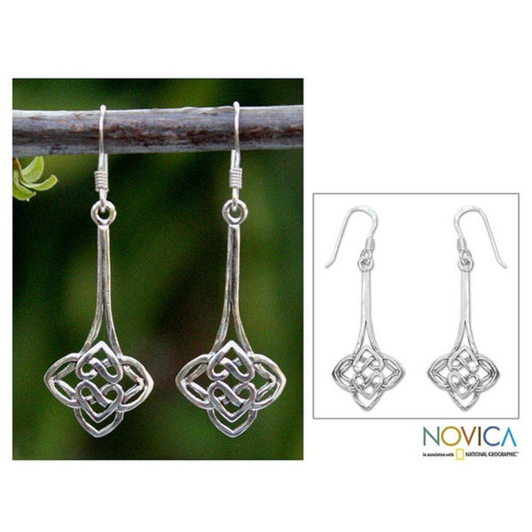 Handmade Sterling Silver 'Tiger Lily' Dangle Earrings (Thailand)
