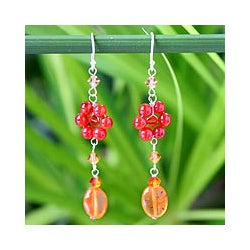 Sterling Silver 'Sweet Eternal' Carnelian Floral Earrings (Thailand)