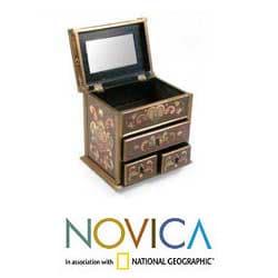 Handmade Painted Glass 'Wine and Flowers' Jewelry Box (Peru) - Thumbnail 1