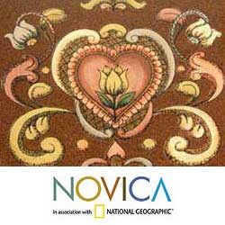 Handmade Painted Glass 'Wine and Flowers' Jewelry Box (Peru) - Thumbnail 2