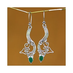 Sterling Silver 'Ivy Moon' Agate Dangle Earrings (Indonesia)