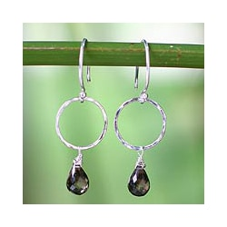Handmade Sterling Silver 'Mystic Solo' Smoky Quartz Dangle Earrings (Thailand)
