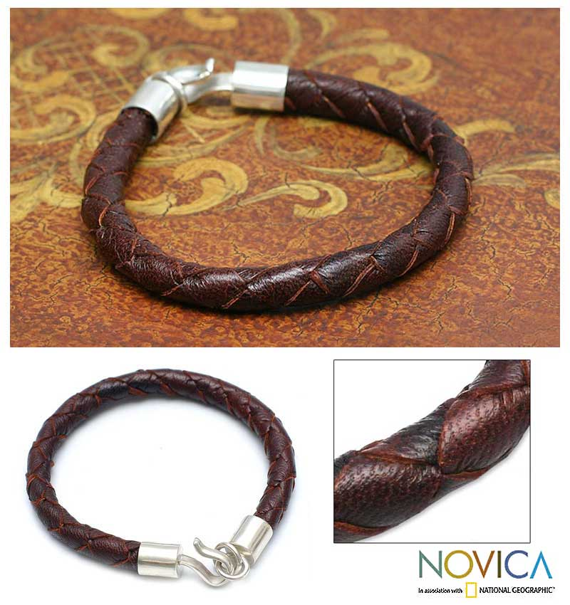 Handmade Leather and Silver Men's 'Earth Elements' Bracelet (Peru)
