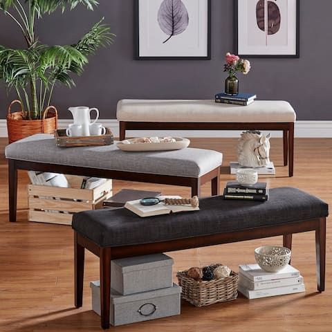Hawthorne Upholstered Espresso Finish Bench by iNSPIRE Q Bold