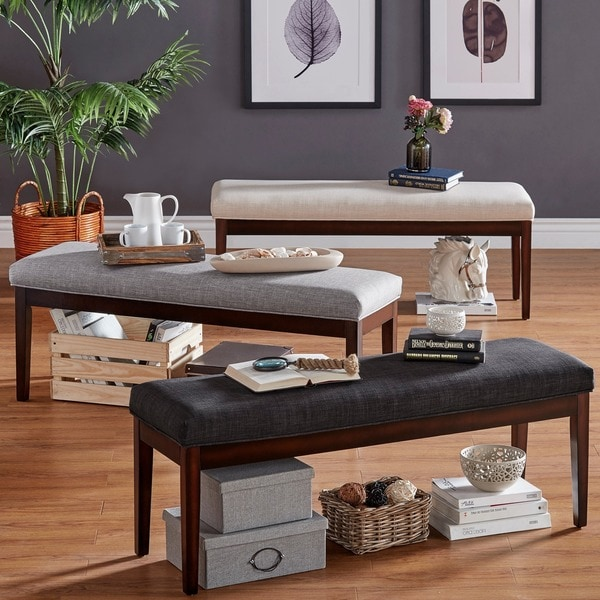 Shop Hawthorne Upholstered Espresso Finish Bench By
