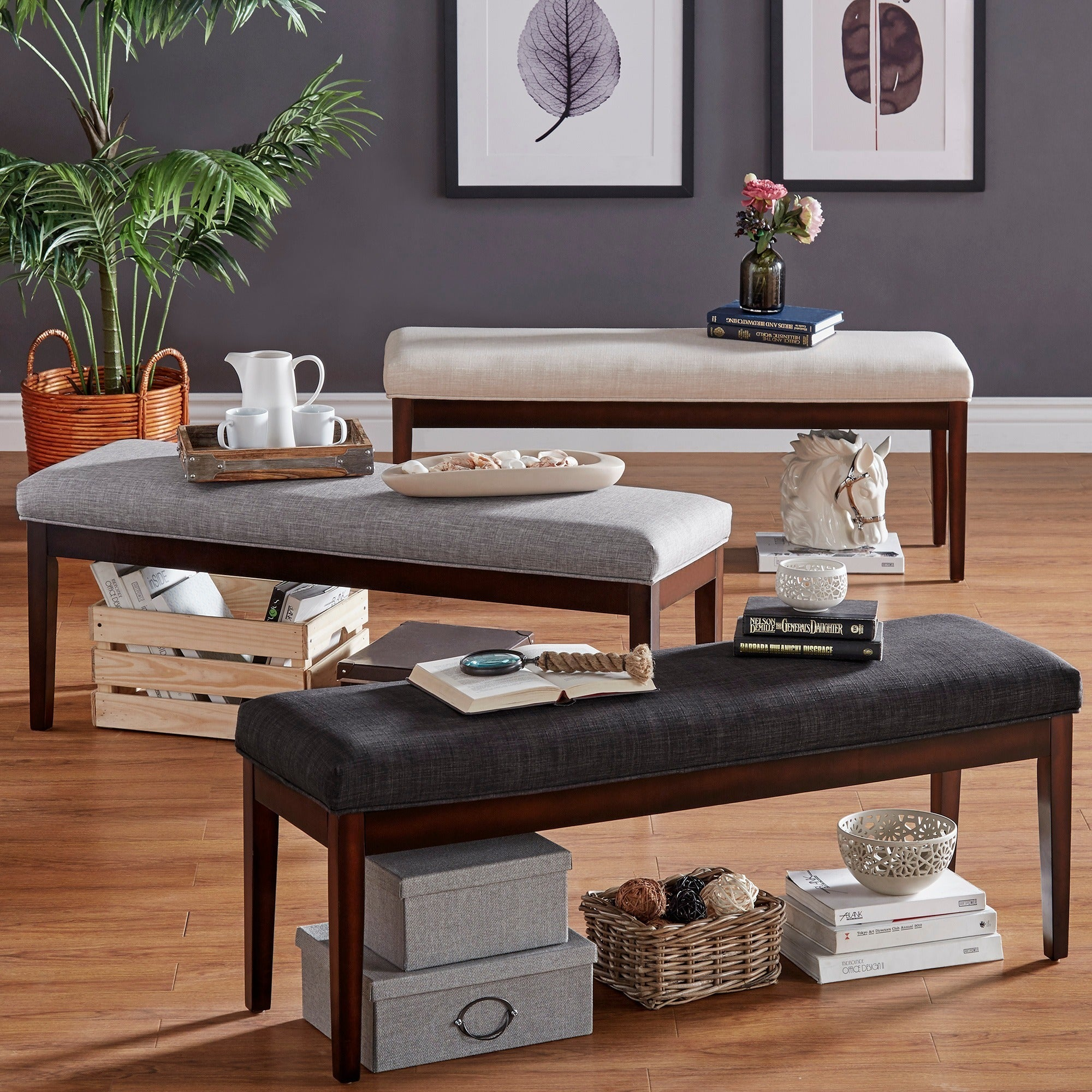 Hawthorne Upholstered Espresso Finish Bench by iNSPIRE Q Bold (Brown)