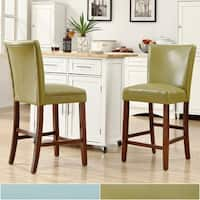 Villa Faux Leather Blue Counter Stools Set Of 2 Free