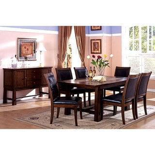 Furniture Of America Walwick 7 Piece Marble Inserts Tobacco Oak Dining Set