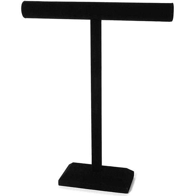 Black Velvet T-shaped Jewelry Stand