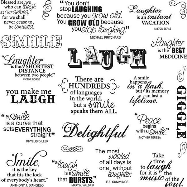 Fiskars Laugh With Me 8x8 Quote Clear Stamps