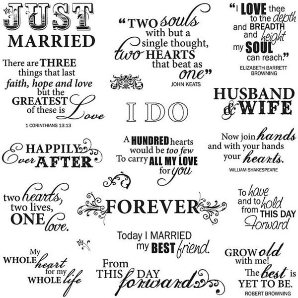 Fiskars Just Married 8x8-inch Quote Clear Stamp Sheet