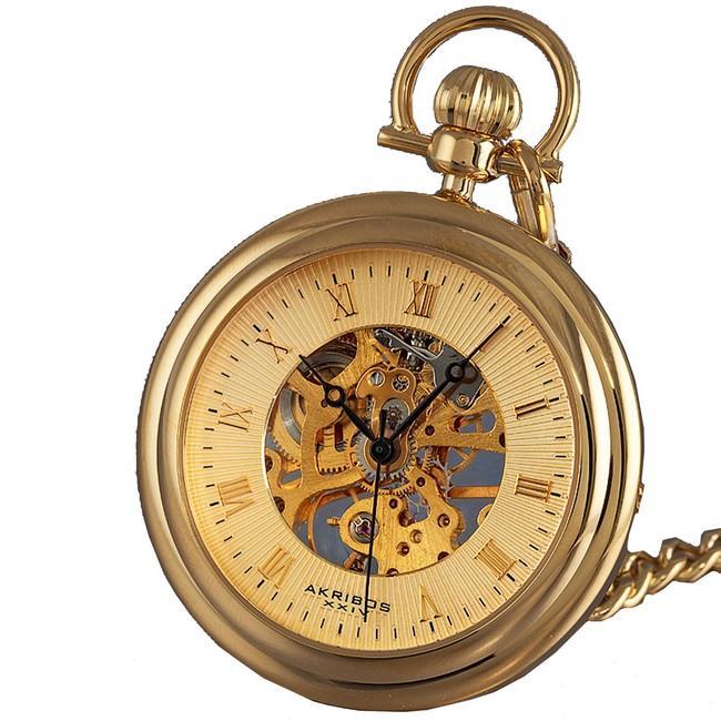 Akribos XXIV Men's Mechanical Gold Pocket Watch