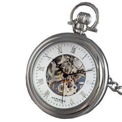 Akribos XXIV Men's Mechanical Stainless Pocket Watch ...