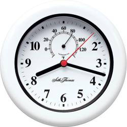 Seth Thomas 'Aqua' White Plastic Quartz Weather-resistant Clock - Thumbnail 1