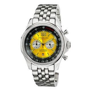 Stuhrling Original Men's Targa 24 Pro Chrono Watch with Yellow-and-Black Dial