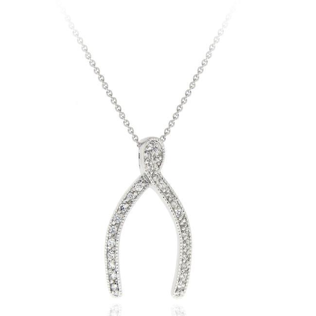 Icz Stonez Sterling Silver Cubic Zirconia Wishbone Necklace