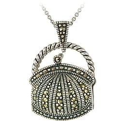 Glitzy Rocks Sterling Silver Marcasite Purse Locket Necklace