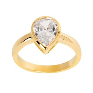 NEXTE Jewelry 14k Gold Overlay Pear-cut Clear Cubic Zirconia Solitaire Ring