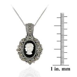 Glitzy Rocks Sterling Silver Marcasite Onyx and Mother of Pearl Cameo Necklace - Thumbnail 2