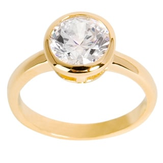 NEXTE Jewelry 14k Gold Overlay Round-cut Clear Cubic Zirconia Solitaire Ring