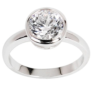 NEXTE Jewelry Silvertone Round-cut Clear Cubic Zirconia Solitaire Ring