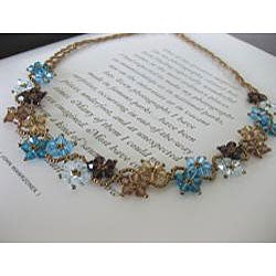 Handmade Stainless Steel Blue and Brown Delicate Crystal Flower Necklace (USA)