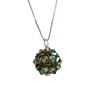 Sterling Silver Colorful Green Crystal Ball Necklace (USA)