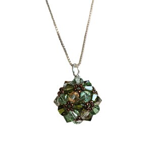 Handmade Sterling Silver Colorful Green Crystal Ball Necklace (USA)