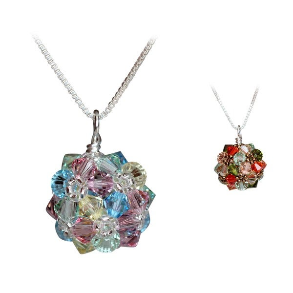 Handmade Sterling Silver Colorful Summery Crystal Ball Necklace (USA)