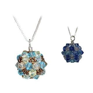 Handmade Sterling Silver Sky Crystal Ball Necklace (USA)