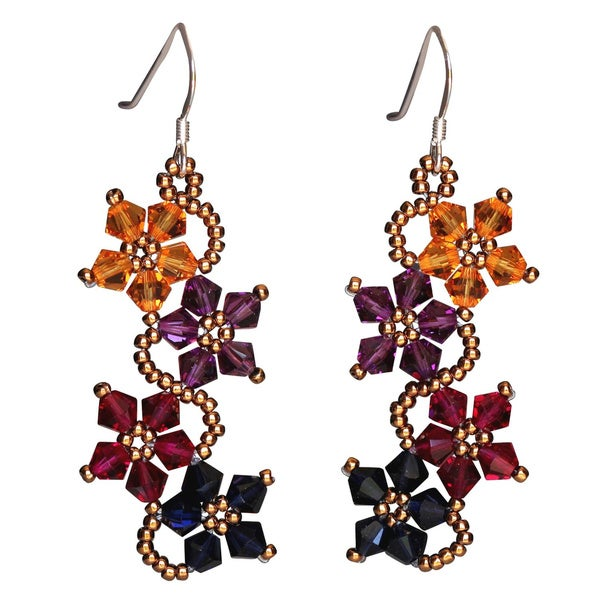 e7ef1c35ef3d Shop Handmade Sterling Silver Multi-colored Crystal Flower Earrings (USA) -  Free Shipping On Orders Over  45 - Overstock - 4998616