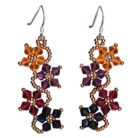 Handmade Sterling Silver Multi-colored Crystal Flower Earrings (USA)