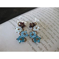 Sterling Silver Blue and Brown Crystal Flower Earrings
