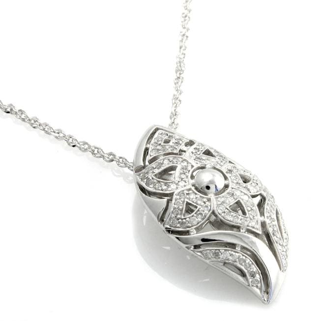 Beverly Hills Charm Silver 1/2ct TDW Diamond Flower Necklace (H-I, I1-I2)