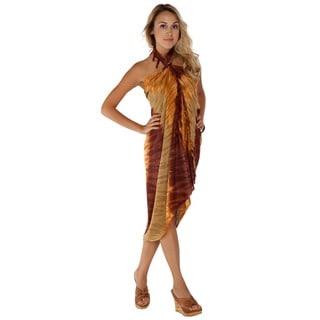 1 World Sarongs Women's Tie-Dye Fringed Sarong (Indonesia)