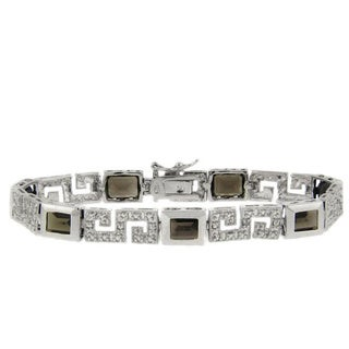 Dolce Giavonna Sterling Silver Smokey Quartz and Diamond Accent Greek Key Bracelet