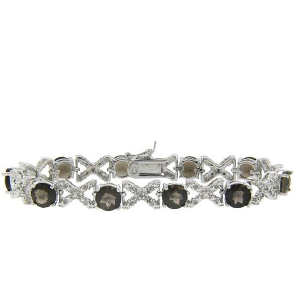 Dolce Giavonna Sterling Silver Smokey Quartz and Diamond Accent XOXO Bracelet