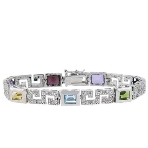 Dolce Giavonna Sterling Silver Multi-gemstone and Diamond Accent Greek Key Bracelet