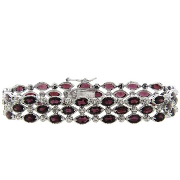 Dolce Giavonna Sterling Silver Garnet and Diamond Accent 3-row Bracelet